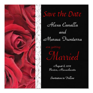 "Red Rose Wedding Save the Date Card 5.25"" Square Invitation Card"