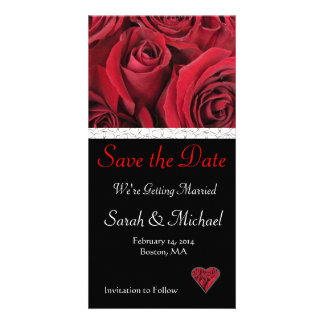 Red Rose Wedding Save the Date Card Custom Photo Card
