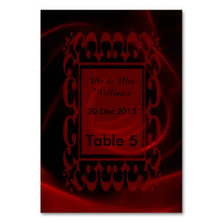 Red Rose wedding table card