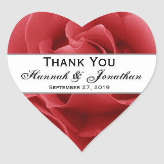 Red Rose Wedding Thank You Bride Groom Heart Sticker