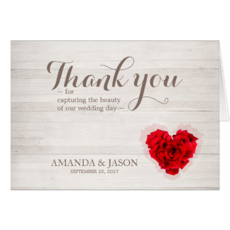 Red rose wedding thank you card hhn01