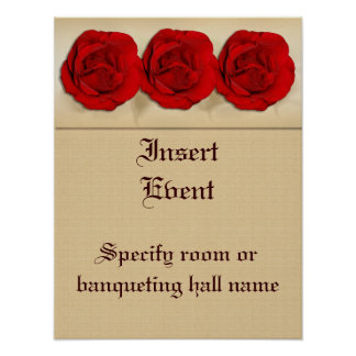 Red rose wedding trio | Personalized Poster