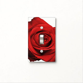 Red Rose White (Any Color) Rustic Glam Custom Light Switch Cover