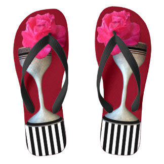 Red Rose Wine Glass Strips Flip Flops