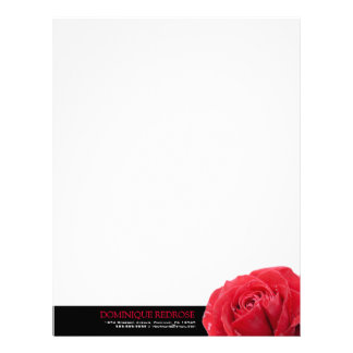 Red Rose with Black Accent Personalized Letterhead