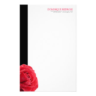 Red Rose with Black Accent Stationery