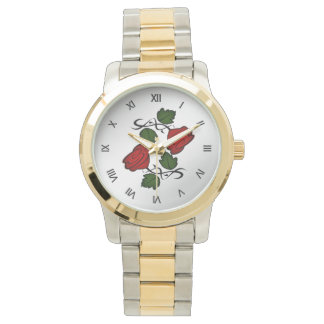 Red Rose with Black Roman Numerals Watch