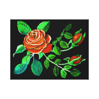 Red Rose with Buds Painting Canvas Print