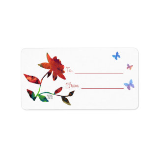 Red Rose with Butterflies Gift Labels