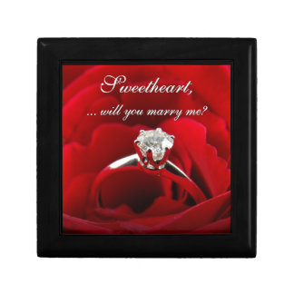 Red Rose with Diamond Ring Marriage Proposal Gift Box