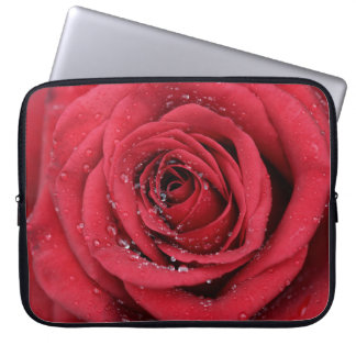 Red Rose with droplets Laptop Computer Sleeves
