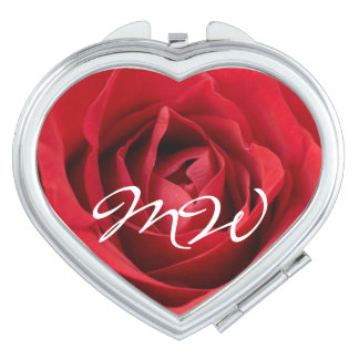 Red Rose with Initials Travel Mirror