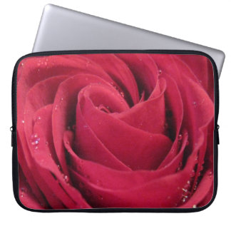 Red Rose with Water Droplets Laptop Sleeves
