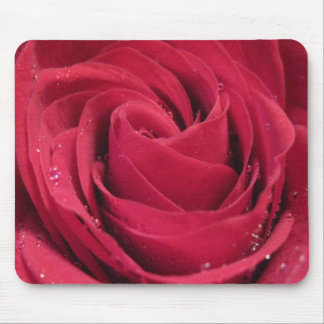 Red Rose with Water Droplets Mouse Pad