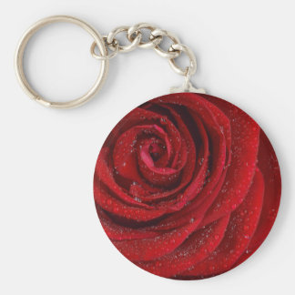 Red Rose with Waterdrops Basic Round Button Keychain