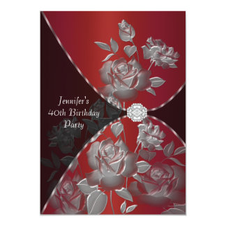 Red Rose Womans 40th Birthday Party Invitation