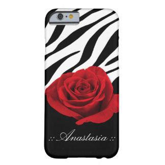 Red Rose Zebra Print personalized iPhone 6 Case