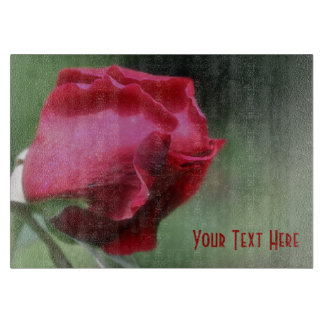 Red Rosebud Flower Nature Cutting Board