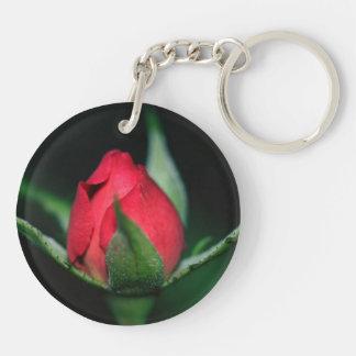 Red Rosebud Double-Sided Round Acrylic Keychain