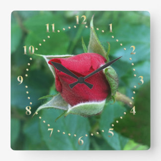 red rosebud square wall clock