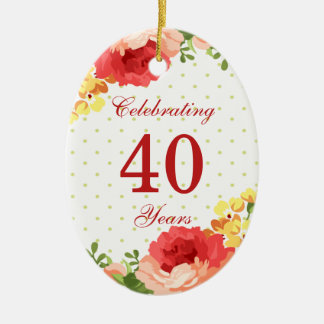 Red roses 40th Wedding Anniversary Ornament