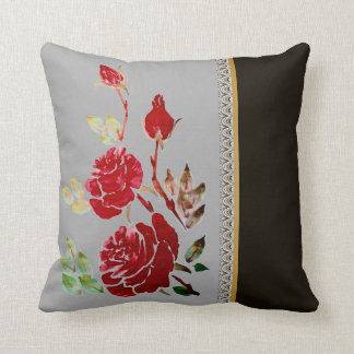 Red Roses accent gray black Throw Pillow