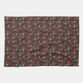 RED ROSES AND BABIES BREATH KITCHE TOWEL ART PRINT
