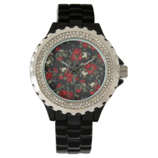 RED ROSES AND BABY BREATH CASUAL WRIST WATCH