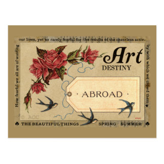 Red Roses and Birds Postcard