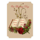 Red Roses and Gold Open Bible Wedding Card