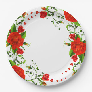 Red Roses and Hearts Paper Plate