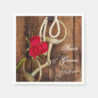 Red Roses and Horse Bit Country Western Wedding Paper Napkins