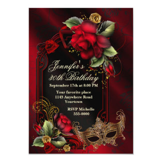 "Red Roses and Masquerade Mask Adult Birthday 5"" X 7"" Invitation Card"
