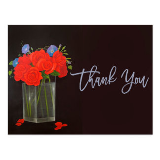 Red Roses and Morning Glory Thank You add photo Postcard
