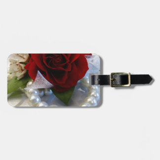 Red Roses and Pearls Luggage Tag