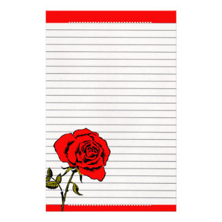 Red roses and pearls. personalized stationery