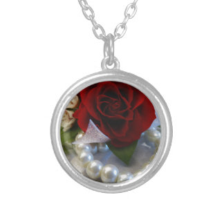 Red Roses and Pearls Silver Plated Necklace