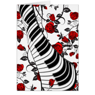 Red roses and piano keys card