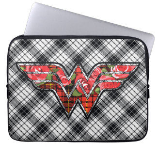 Red Roses and Plaid Wonder Woman Logo Laptop Sleeves