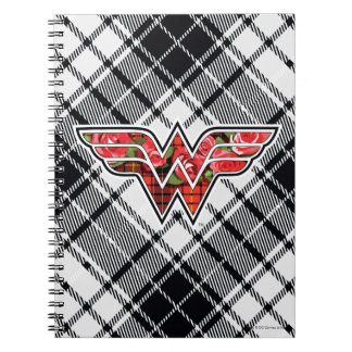 Red Roses and Plaid Wonder Woman Logo Notebook