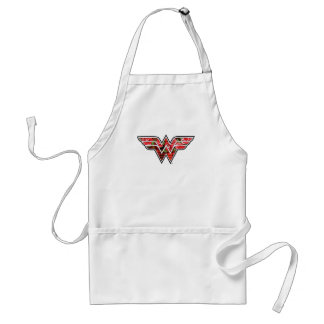 Red Roses and Plaid Wonder Woman Logo Standard Apron