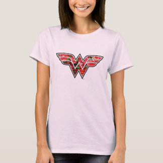 Red Roses and Plaid Wonder Woman Logo T-Shirt