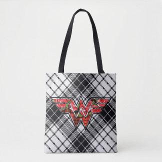 Red Roses and Plaid Wonder Woman Logo Tote Bag