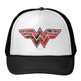 Red Roses and Plaid Wonder Woman Logo Trucker Hat