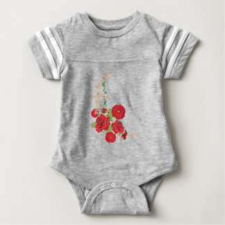 Red Roses and Poppies Ornament 2 Baby Bodysuit