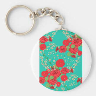 Red Roses and Poppies Ornament 3 Basic Round Button Keychain