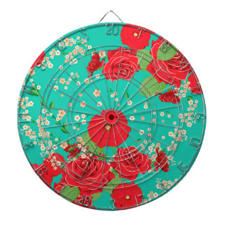 Red Roses and Poppies Ornament 3 Dartboard