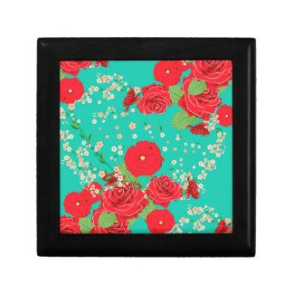 Red Roses and Poppies Ornament 3 Gift Box