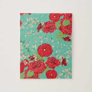 Red Roses and Poppies Ornament 3 Jigsaw Puzzle