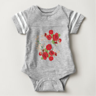 Red Roses and Poppies Ornament Baby Bodysuit